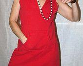 Vintage Hoodie - 70s - Red Sporty A-Line Dress - Croft & Borrow