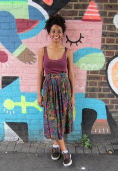 Vintage 80s Skirt   £12  #80s #printed #skirt