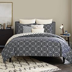 Bring an eye-catching look to your bedroom with the ornate Real Simple Luna Reversible Duvet Cover. Decked out in bold medallion print in navy and cream hues, the reversible bedding is the perfect way to liven up any room's décor.