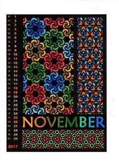 Ausmalkalender zum Entspannen - sehr einfach wegen dicker schwarzer Konturen, gelingt immer. Vorlagen-Download bei lehrermarktplatz.de 50 Cent