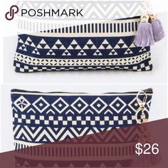 """TRIBALS AND TASSELS CLUTCH - NAVY/PURPLE Length - 10.5"""" Width - 0.75"""" Height - 8"""" Cotton Canvas Zip Closure Lead & Nickel Compliant. http://onehaute.com/collections/accessories/products/tribals-and-tassels-clutch One Haute Bags Clutches & Wristlets"""