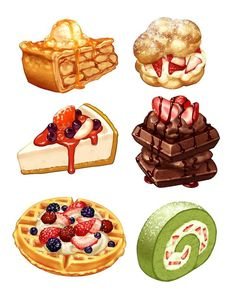 illustration art food drawing Fan Anime vi Kpop hoc thch xem th xem :)) Food Design, Desserts Drawing, Cake Drawing, Drawing Drawing, Dessert Illustration, Cute Food Art, Cute Food Drawings, Food Sketch, Food Cartoon