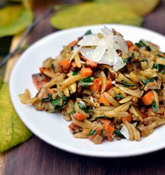 Orzo w/ sweet potato, onion, kale, garlic, ginger, shitake mushroom