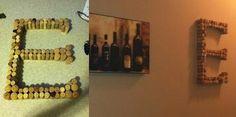 "DIY Wine corks glued together into an ""E"""