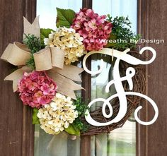 Pink hydrangea Wreath, Monogram initial wreath, wreaths https://www.etsy.com/listing/239427202/pink-and-cream-hydrangea-wreath-front