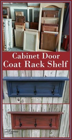 repurposed furniture Fun ways to repurpose cabinet doors by adding scrap wood and some coat hooks to make a rack for scarves, hats, jewelry and more. Furniture Projects, Furniture Makeover, Home Projects, Diy Furniture, Furniture Vintage, Furniture Design, Garage Furniture, Metal Furniture, Unique Furniture