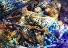 ~Earths Awakening~ ©Mystic Raven  Encaustic Painting