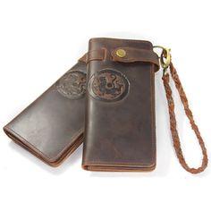 Vintage Pattern Handmade Italian Genuine Crazy Horse Leather Wallet