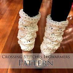 Crossing Stitches Leg Warmers - free super chunky crochet pattern by Frenchie Leigh. Crochet Boot Cuffs, Crochet Leg Warmers, Crochet Gloves, Crochet Slippers, Quick Crochet, Chunky Crochet, Free Crochet, Knit Crochet, Irish Crochet