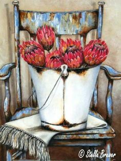 Stella Bruwer white enamel bucket of red protea on white fringe cloth on shabby blue chair Protea Art, Stella Art, South African Artists, Still Life Art, Tole Painting, Art Oil, Vintage Prints, Diy Art, Flower Art