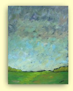 Valley of Peace - OOAK-- Original abstract painting - acrylic painting - landscape painting - plein air - canvas 20x16 by VESNAsART on Etsy
