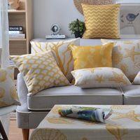 Méditerranée oreiller coussins Jaune Algues coussin Linge taie d'oreiller coussins décoratifs pour la maison canapé coussins