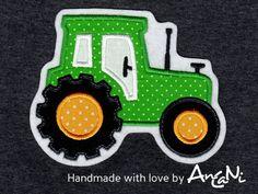 Aufnäher Traktor ♥ Applikation Trecker xxl ♥ Bauer von AnCaNi auf DaWanda.com