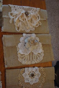 making and decorating burlap bags - so cute! #burlap #bag #sewing #crafts #lace #ribbon - tutorial by tarnished and tattered: A Burlap Tutorail For You! - tå√