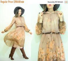 50% OFF SALE... Taupe Blush 70's Peach Floral Chiffon Miss Elliette Micro Pleated Midi Dress / Full Skirt / Scarf Print / Poet Sleeve
