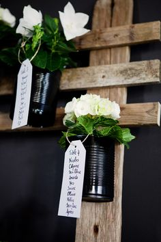 A simple wedding seating idea instead of escort cards-- I like the black cans too! Seating Arrangement Wedding, Wedding Seating, Wedding Guest Book, Sweet Table Decorations, Gold Wedding Decorations, Garden Party Wedding, Diy Wedding, Wedding Flowers, Wedding Ideas