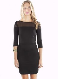 Fitted Little Black Dress with Mesh Top and 3/4 Sleeves,  Dress, 3/4 length sleeves  body con  mesh, Chic