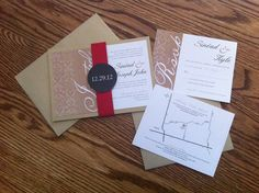 Damask Style Wedding Invitation set, wrap, red and gold http://www.invitationtwist.ca/
