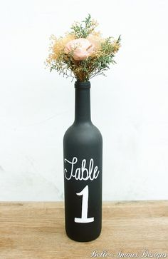 Chalkboard Wine Bottle Table Numbers  Set of by BelleAmourDesigns