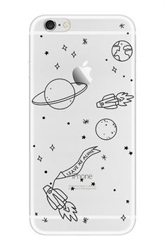 Cartoon Painted Space Rocket Printed Fashion Silicone iPhone Case