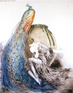 "Louis Icart (French, 1888-1950), ""Peacock"" 