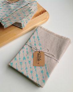 Linen Napkins Aqua Mint Arrow Screen Print Dining Set of Four Unbleached Natural Cotton Cloth Dinner Pastel Spring Serving