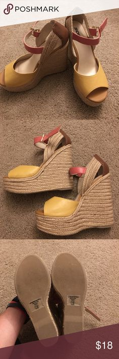 Pretty colorful wedges These are perfect summer colors, yellow, pink and tan. Only worn once for a short time. Shoes Wedges