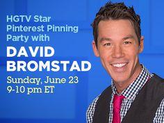 HGTV Star Pinterest Pinning Party With David Bromstad (http://blog.hgtv.com/design/2013/06/21/hgtv-star-pinning-party-with-david-bromstad/?soc=pinterest)