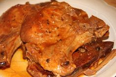 Crockpot Coca-Cola Peach  Barbecue Pork Chops