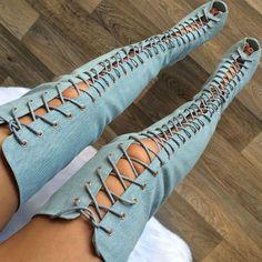 Hot Deal! Denim Lace Up Thigh High Boot