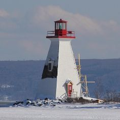 Kidston Island Lighthouse. The cold weather has halted renovations in #baddeck #capebreton #novascotia