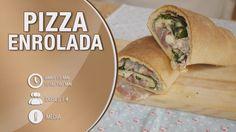 Pizza enrolada com mozzarela, presunto e espinafres - Receita Bimby