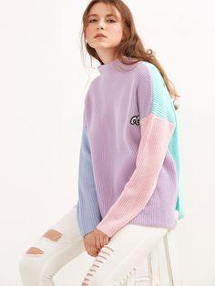 Shop Color Block Funnel Neck Eye Embroidered Sweater online. SheIn offers Color Block Funnel Neck Eye Embroidered Sweater & more to fit your fashionable needs.