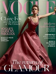 Claire Foy in Christian Siriano Dress Covers the November Issue of British Vogue Magazine