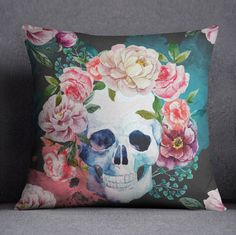 Hey, I found this really awesome Etsy listing at https://www.etsy.com/listing/240325271/water-color-skull-pillow-dia-los-muertos