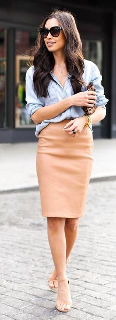 what to wear with a denim shirt : nude pencil skirt + sandals