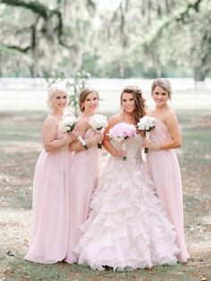 These blush pink chiffon bridesmaid dresses are gorgeous! Such a classic choice! {@pashabelman}
