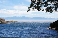 View of the Olympic Mountains from Esquimalt, BC on the southern part of Vancouver Island.