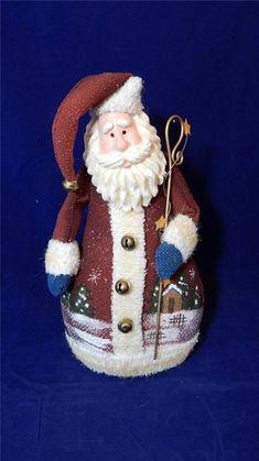 "11 ½"" Tall Fabric & Metal Santa Christmas Holiday Door Stop EUC"