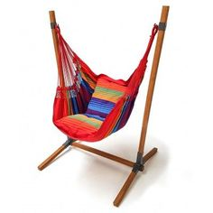 Hanging chair in XL size for better comfort. High quality cotton and 110 cm wide spreader. Perfect chair for in the garden, on a balcony or in the bed room.