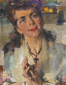 Artwork by Nicolai Fechin, PORTRAIT OF A YOUNG WOMAN, Made of oil on canvas