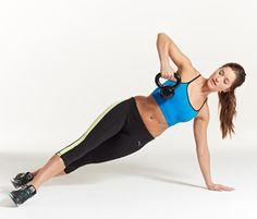 13 Kettlebell Exercises that Firm and Burn//Side Plank Row with Kettlebell c Beth Bischoff