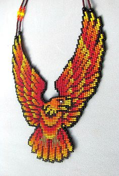 Seed Beaded Eagle Necklace Aguila de Fuego by HANWImedicineArt