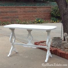 White Painted Console Table - Entry, Sofa or Wedding Cake Table - Shabby Paris Chic by RedBarnEstates on Etsy https://www.etsy.com/listing/227564984/white-painted-console-table-entry-sofa
