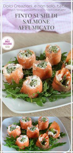 Il Finto sushi di salmone affumicato è uno sfizioso e gustoso #antipasto freddo che si prepara in pochissimi minuti e sarà ideale da servire in qualsiasi occasione come ad esempio per un finger food o un #aperitivo, ma anche per andare a comporre un #buffet. In pochi minuti, avremo pronto uno sfizioso #stuzzichino da gustare in un sol boccone.  #ricetta #sushi #salmoneaffumicato #fagiolini #recipe #fingerfood #ricettaveloce #natale #capodanno #party #salmon #recipe #food #foodie #italianfood Oriental, Antipasto, Fresh Rolls, Finger Foods, Buffet, Stuffed Peppers, Fruit, Vegetables, Ethnic Recipes
