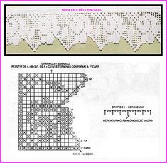 Barrados em crochê filé com motivos de rosas. Crochet Borders, Filet Crochet, Crochet Stitches, Love Crochet, Crochet Flowers, Crochet Lace, Crochet Designs, Crochet Patterns, Border Design