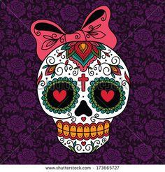 Mexican Sugar Skull Girl Stock Vector Illustration 173665727 ...