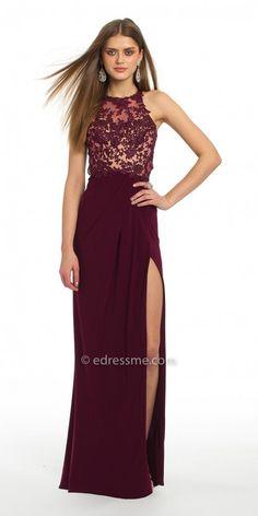 ba0d7b7a192 Lace Applique Jersey Side Slit Prom Dress by Camille La Vie