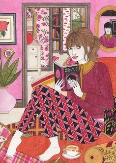The Pink Room - Laura Callaghan Illustration Art And Illustration, Illustration Mignonne, Arte Fashion, Reading Art, Pink Room, Art Inspo, Book Art, Art Drawings, Artsy