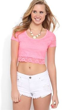 Deb Shops Short Sleeve #Pink Lace Crop Top with Sheer Back $9.00